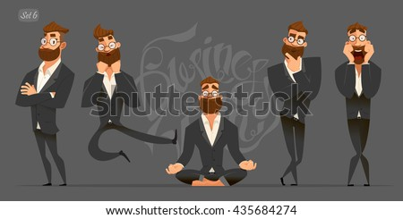 Business man characters. Business mans in black suits. Emotions and expressions