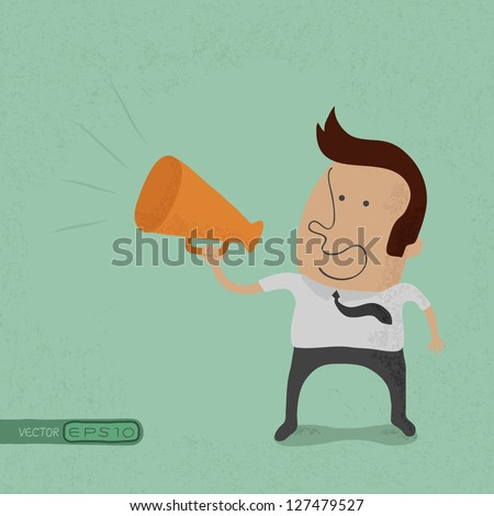Business man cheer with a megaphone eps10 vector format