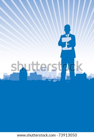 business man city background