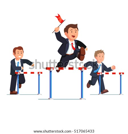 Business man competing in a steeplechase race following the leader with the red flag in hand jumping over the obstacle. Determined businessman. Flat style vector illustration.