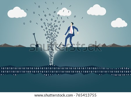 Business man drilling hole to find source of information. Concept of successful data mining, big data and digitization