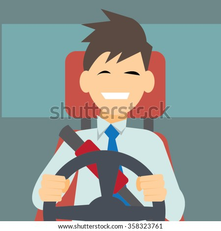Business man driving a car,Safety driving and licensing concept-vector