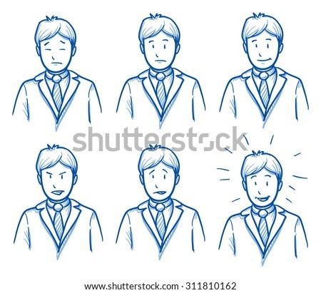 Business man emotions, symbolising happy, sad, angry, depressed, hand drawn doodle vector illustration