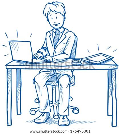 Рисунки с человеком как сидит за столом