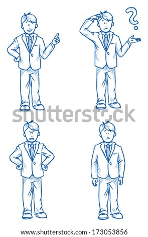 Business Man Employee Illustration In Different Emotions, Angry, Happy, Thoughtful And Poses, Hand Drawn Sketch - Part 1