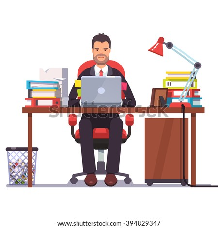 Business man entrepreneur in a suit working at his office desk. Flat style modern vector illustration.