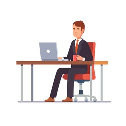 Business man entrepreneur in a suit working on a laptop computer at his clean and sleek office desk. Flat style color modern vector illustration.