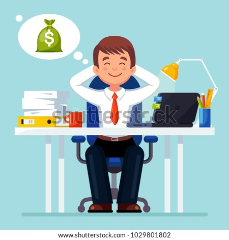 Business man, entrepreneur relaxing, dreaming about money bag.  Boss sitting at office table on chair isolated on background and think about dollar. Employee sleeping at workplace. Vector flat design