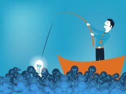 Business man fishing a good idea in sea of light bulb vector illustration
