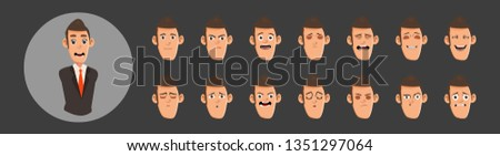 Business man flat avatars emotions set with smiling face.Mouth expression set for animation. Lip sync collection for character animation
