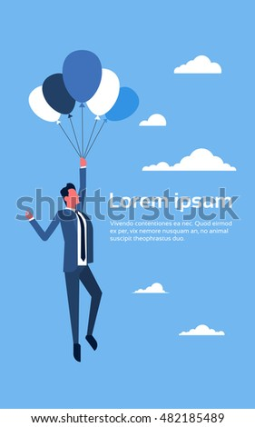 Business Man Flying On Air Balloons Flat Vector Illustration