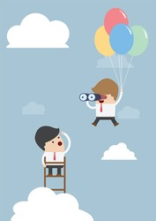 Business man flying with balloon and using binoculars, VECTOR, EPS10