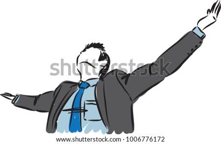 business man freedom gesture vector illustration