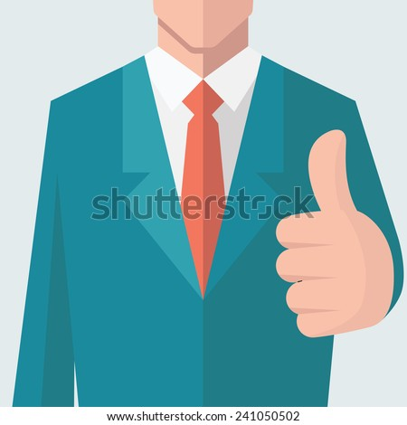 Business man give thumb up sign. There is full head of character in clipping mask layer. Flat design.