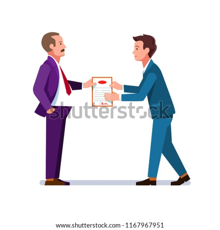 Business man giving appreciation certificate to young employee for achievement. Graduate person receiving qualification and education diploma. Flat vector illustration isolated on white