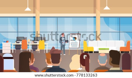 Business Man Giving Presentation Or Report, Training Meeting In Front Of Team Of Businesspeople Flat Vector Illustration