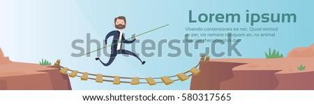 Business Man Go Dangerous Mountain Road Rope Bridge Risk Concept Flat Vector Illustration