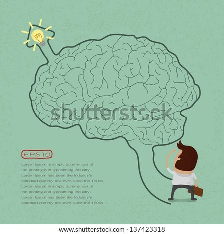 Business man go to brain maze , eps10 vector format