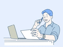 Business man going through paperwork at home office, he is concentrating and thinking for ideas. Work form home concept. Hand drawn in thin line style, vector illustrations.