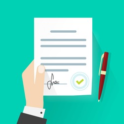 Business man hand holding contract agreement vector illustration, signed treaty paper with pen, legal document symbol with stamp, documentation flat sign modern design isolated on green background