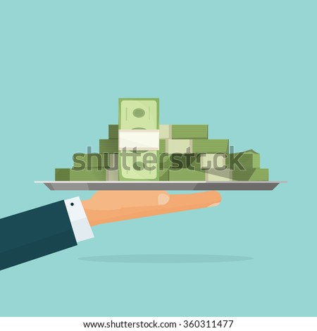 Business man hand holding tray with big pile of money vector symbol illustration, bank loan cash giving, credit packet, hypothec, mortgage, salary payment, modern design isolated, flat style emblem