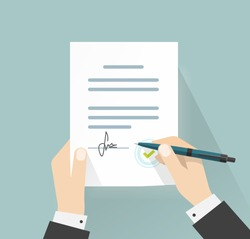 Business man hands signing document vector illustration, person holding contract signed and pen, legal agreement with signature and stamp top view, flat cartoon design isolated on blue