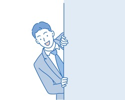 business man hiding behind an  add space. Hand drawn style vector illustrations.