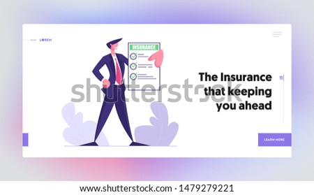 Business Man Hold Insurance Policy Certificate. Protection of Property Interests of Individual and Legal Entities Insured Events Web Page Banner, Website Landing Page. Cartoon Flat Vector Illustration