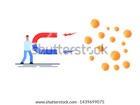 Business man holding a big magnet and attracting cryptocurrency. Investment attraction concept. Effective management. Vector illustration. - Vector