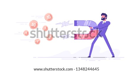 Business man holding a big magnet and attracting money. Investment attraction concept. Modern vector illustration.