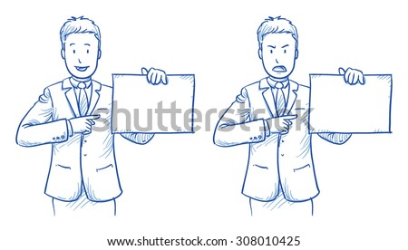 Business man holding a sheet, sign in two emotions, happy and angry, hand drawn doodle vector illustration