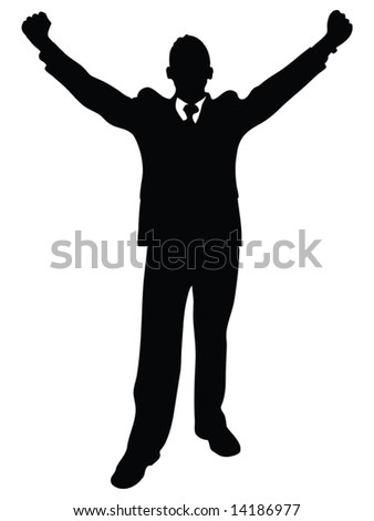 business man illustration silhouette with his arms up enjoying his success isolated over a white background
