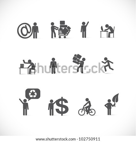 Business man in different situations - icons / silhouettes of businessman day activities - figure set