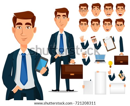 Business man in formal suit, cartoon character creation set. Young handsome smiling businessman in office style clothes. Build your personal design - stock vector