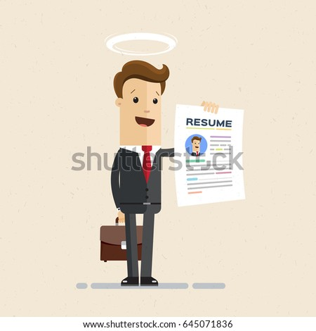 Business man in the suit holding resume for job hiring. Man with  halo over  his head, the best employee. Vector, illustration, flat. Vector, illustration, flat