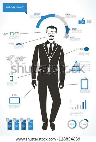 Business man infographic with hipster elements
