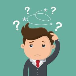 Business man is confused, Thinking businessman surrounded by question marks , Business concept - vector illustration