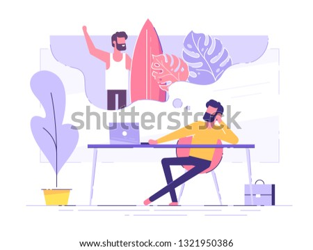 Business man is relaxing and dreaming about surfing and vacation on a tropical island at his work place. Modern office interior. Business concept. Vector illustration.