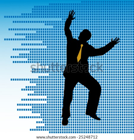 business man jumping over mosaic background