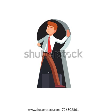 Business man looking out of giant keyhole with curiosity and amazement getting ready to come outside. Metaphor of key person, problem solution and secret discovery. Flat vector isolated illustration.
