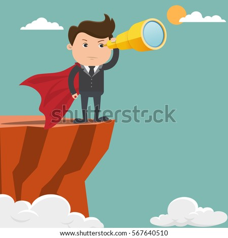 Business man looking standing on the cliffs - Vector illustration.