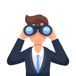 Business man looking through binoculars searching for a job. Flat style isolated vector illustration
