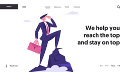 Business Man Looking to Distance on Top of Mountain. Successful Businessman on Peak, Goal Achievement, Marketing Strategy Website Landing Page, Web Page. Cartoon Flat Vector Illustration, Banner