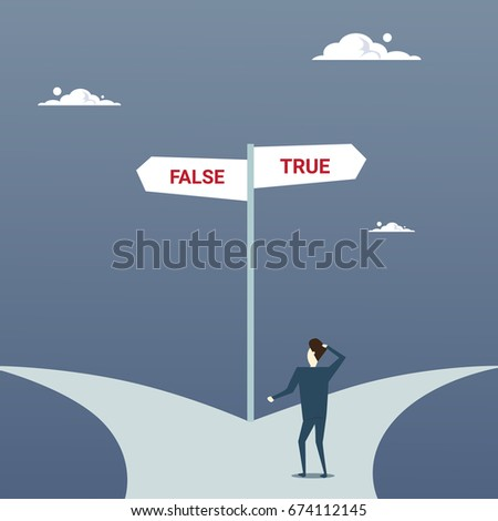 Business Man Lost Standing On Road Choose Direction Between False And True Way Arrow Flat Vector Illustration