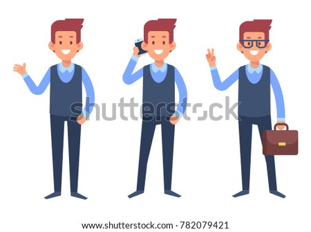 Business man. Manager character. Cartoon style, flat vector illustration.