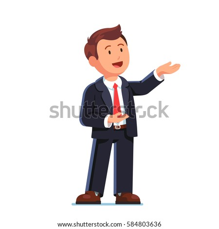 Business man manager in formal suit standing doing demonstrating, showing or presenting gesture with both hands. Salesman speaking. Modern flat style vector illustration isolated on white background.