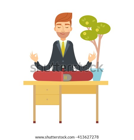 Business man meditating in lotus pose sitting on the office table under the money tree. cartoon character. Office man yoga vector illustration flat design.