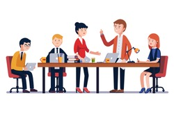 Business man meeting at a big conference desk. Startup company. People working together. Modern colorful flat style vector illustration isolated on white background.