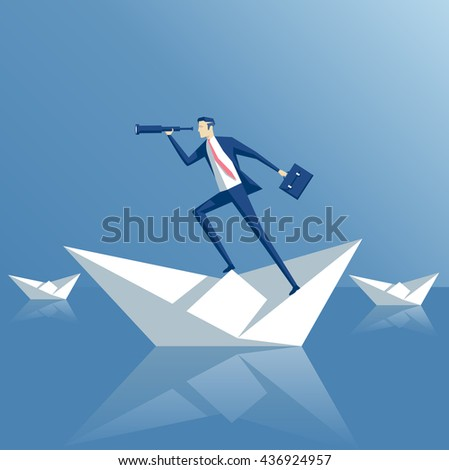 business man on a paper boat