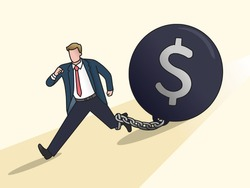 Business man or employees with chain being chased by debt money ball